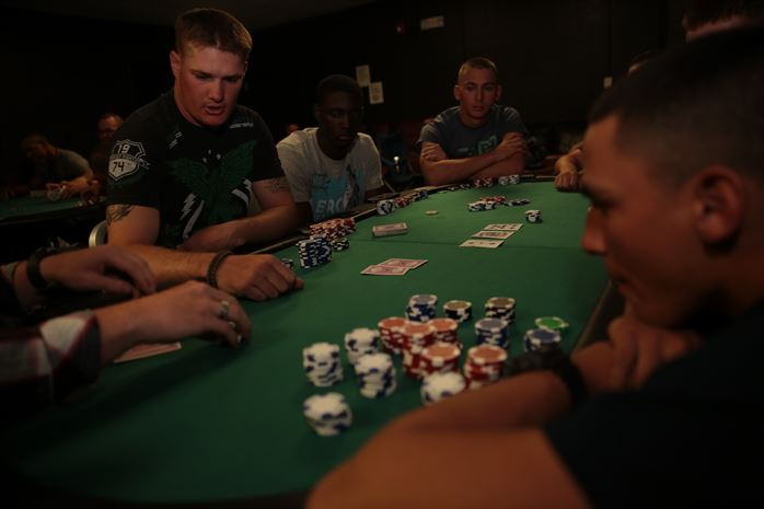 Marines playing poker